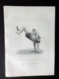 Badminton Library 1889 Wrestling Print. The Heave, Cornwall and Devon